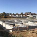 三番瀬環境観察自然園の基礎コンクリートが完成しました。